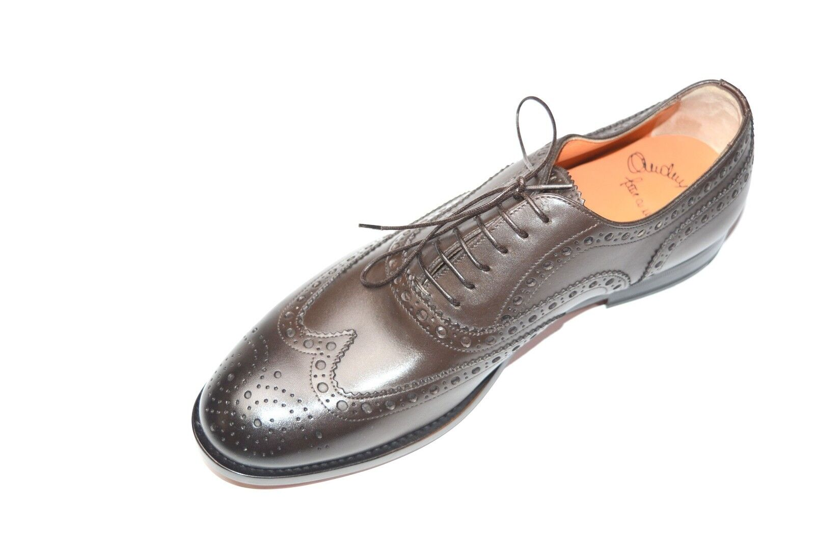 NEW NEW NEW SANTONI Dress Brown Pelle Shoes  SIZE Eu 46 Uk 12 Us 13 (50R) 099a30