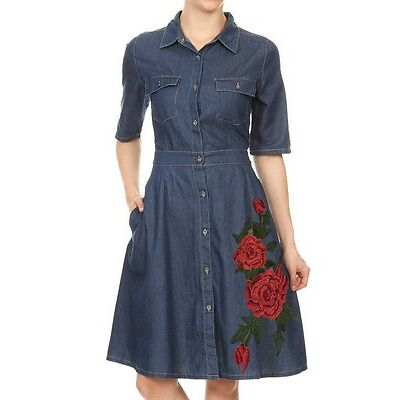Denim Flare Style Short Sleeves Button Down Collared Dress W/ Flower Patch 6142