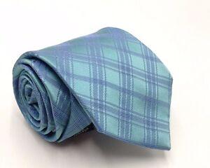 bbf53e38d885 $125 CALVIN KLEIN Men CHECK GREEN BLUE SILK NECK TIE SLIM CLASSIC ...