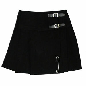 Free pin TC Scottish Mini Ladies Skirt Black Plain Tartan//Women Mini Skirt Kilt