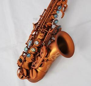 TOP-Matte-Coffee-Curved-Soprano-Saxophone-Bb-sax-Abalone-key-Engraved-bell-New
