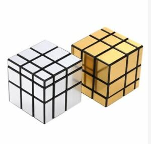 Silver-and-Gold-3x3-Mirror-Speed-Rubik-039-s-Cube-Bundle-Black