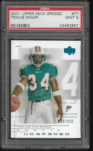 2001-Upper-Deck-Graded-Travis-Minor-Miami-Dolphins-77-RC-PSA-9-MINT-Rookie-Card