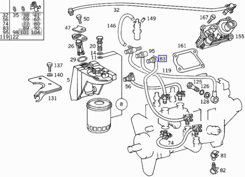 Mercedes OM606 Engine Diesel Fuel Filter Hose Pipe Line A6060700432