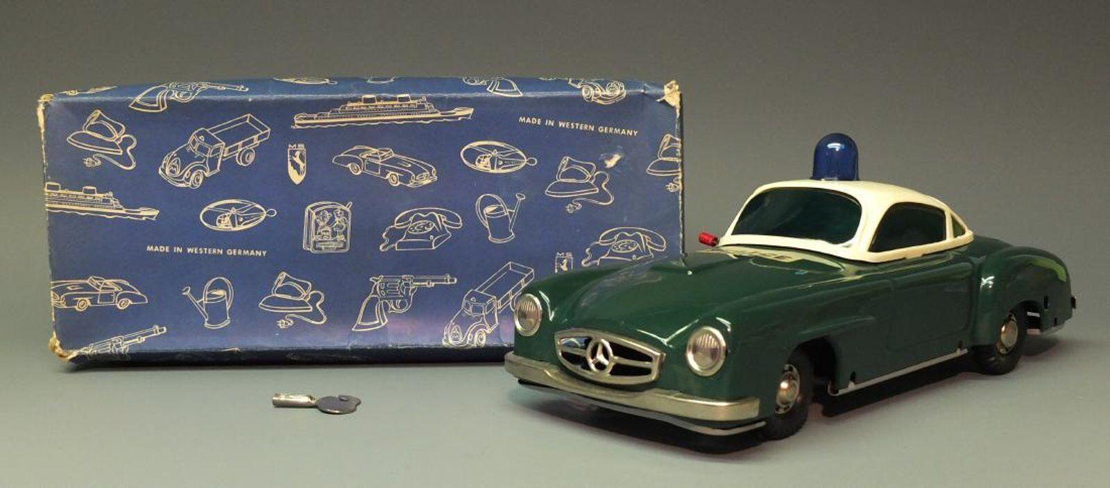 RARE GERMAN MS 1945 MERCEDES POLICE CAR TIN WIND UP BOX RARE