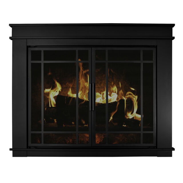 Pleasant Hearth Fillmore Glass Fireplace Door Midnight