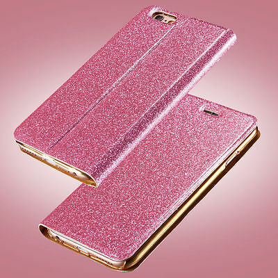 Glitter Luxury Leather Magnetic Flip Card Wallet Cover Case For iPhone/Samsung