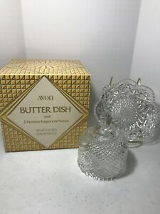 Avon Crystal Glass Dome Covered Butter Dish With Hostess Soaps MIB NOS