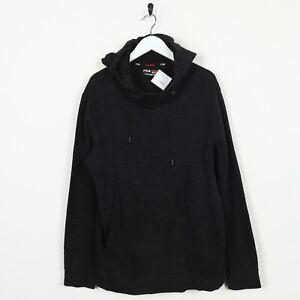 Vintage-FILA-SPORT-Small-Logo-Hoodie-Sweatshirt-Black-Medium-M