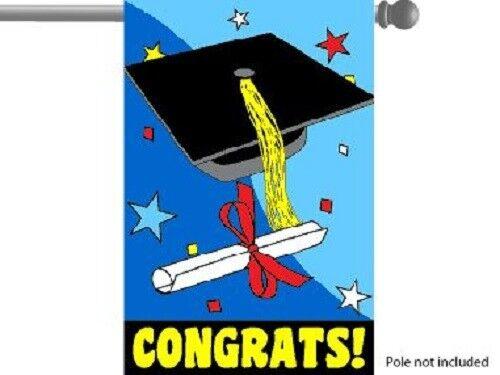 """Congrats Congratulations GARDEN HOUSE BANNER//FLAG 28/""""X40/"""" SLEEVED PARTYFLAG"""