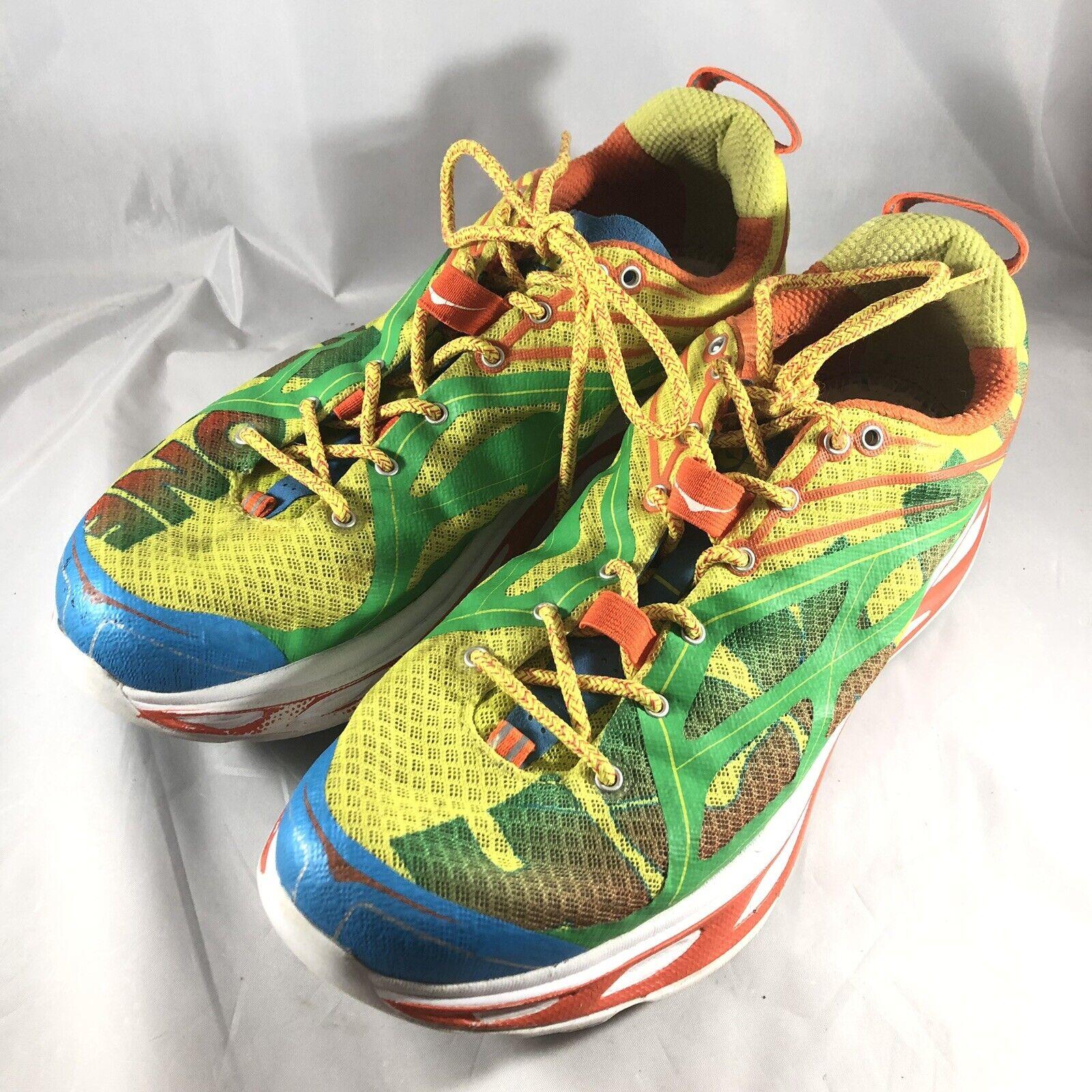 Hoka One One Mens Huaka Running Athletic  scarpe scarpe da ginnastica US 10 verde blu giallo  con il 100% di qualità e il 100% di servizio