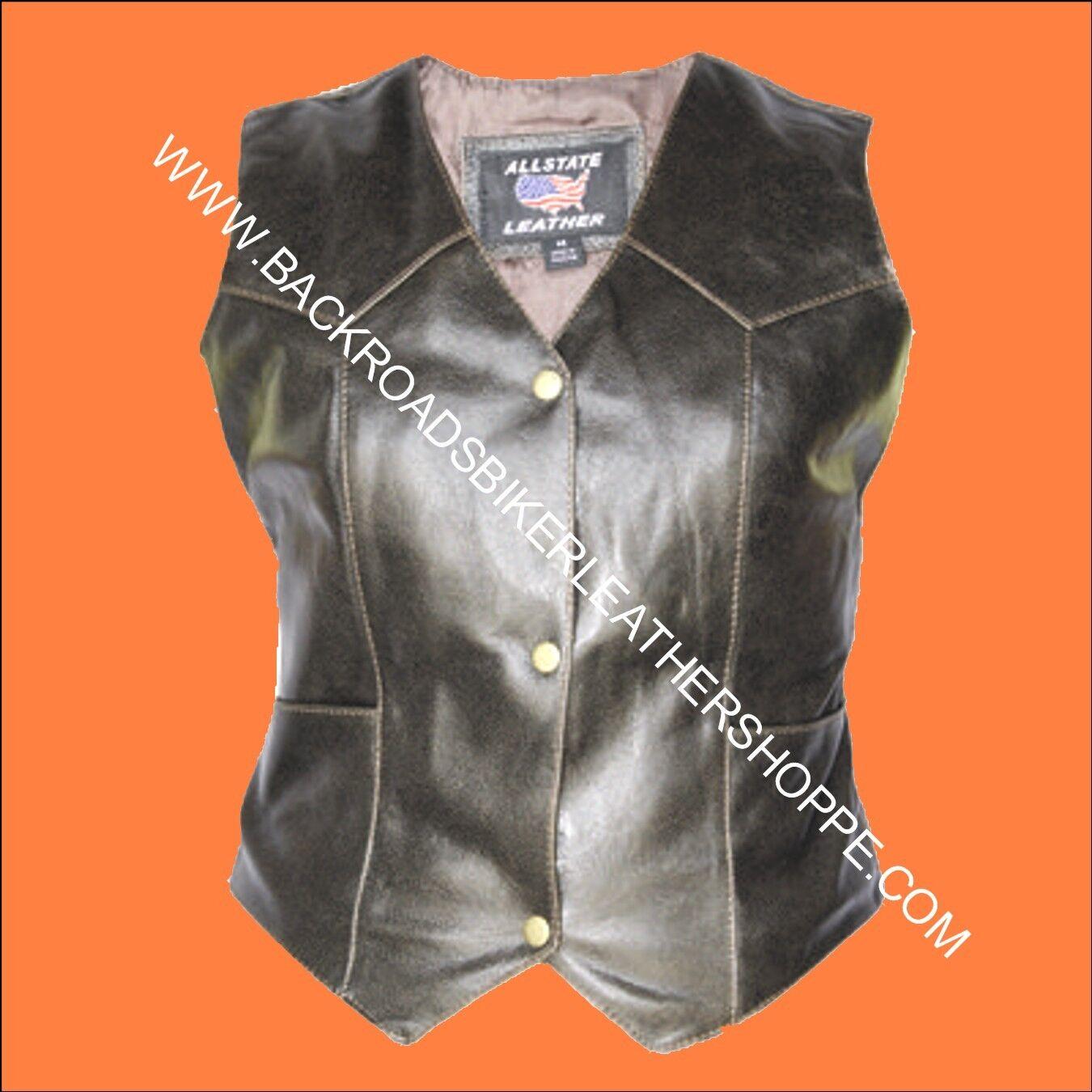 Ladies Womens Retro Brown Leather Vest Motorcycle Biker - Sizes XS to 5X