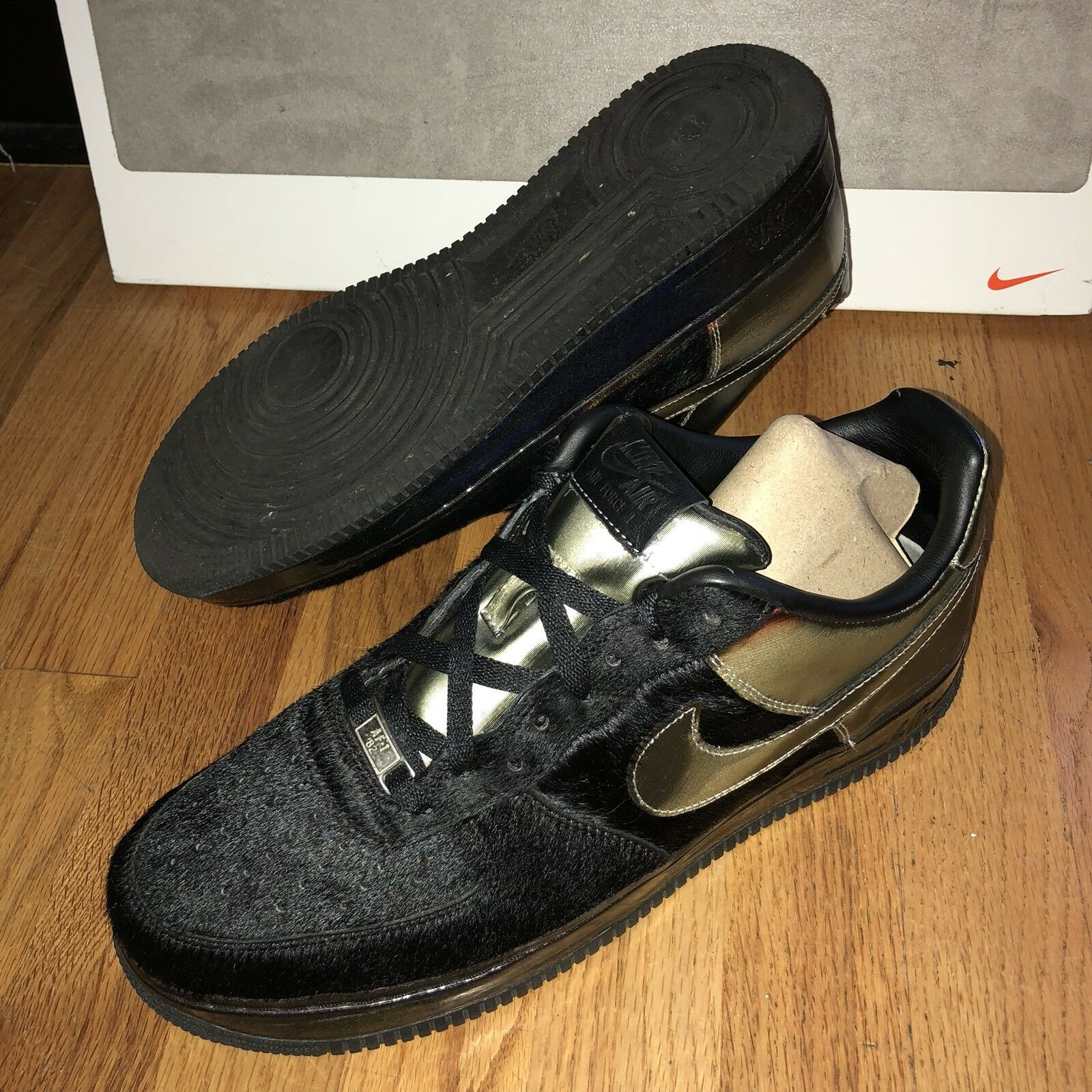Nike Air Force 1 Low Supreme DJ Clark Kent Black Friday Men's Sz 11 Black Gold