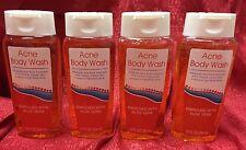 Lot of 4 Acne Body Wash Soap Salicylic Acid 2% Bath Shower Cleanser
