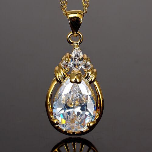 """Fashion Jewelry white topaz CZ or jaune plaqué collier pendentif chaîne 18/"""""""