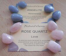Angelite, Rose Quartz Tumblestones - 10 Healing Crystals - 5 of each Crystal