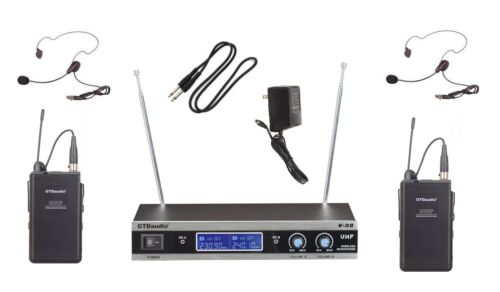 GTD Audio 2 Channel VHF Heatset Lapel Wireless Microphone System  New V-28LL