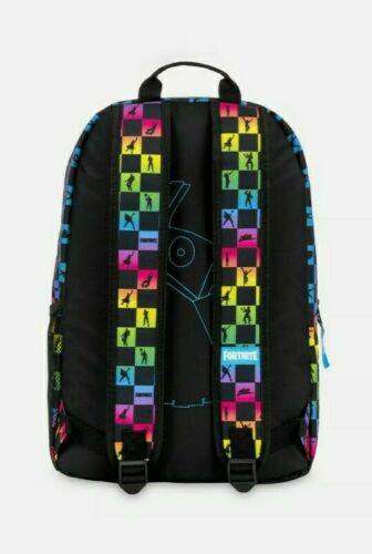 """Details about  /Fortnite Emote Multicolored Checkers 18"""" School Hiking Backpack w Mesh Pocket"""