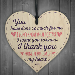 Details About Done So Much For Me Wooden Heart Sign Thank You Friendship Love Birthday Gift