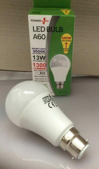 2 X POWERPLUS LED 13W 120W A65 BC B22 ENERGY SAVING 3000K WARMLIGHT BULBS