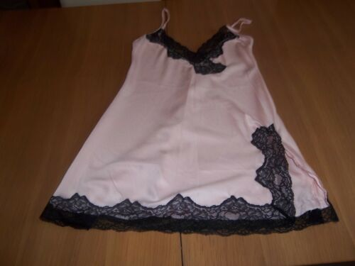 Ex Ann Summers Satin Feel Silky Chemise Nighties Above Knee Pink With Black Trim
