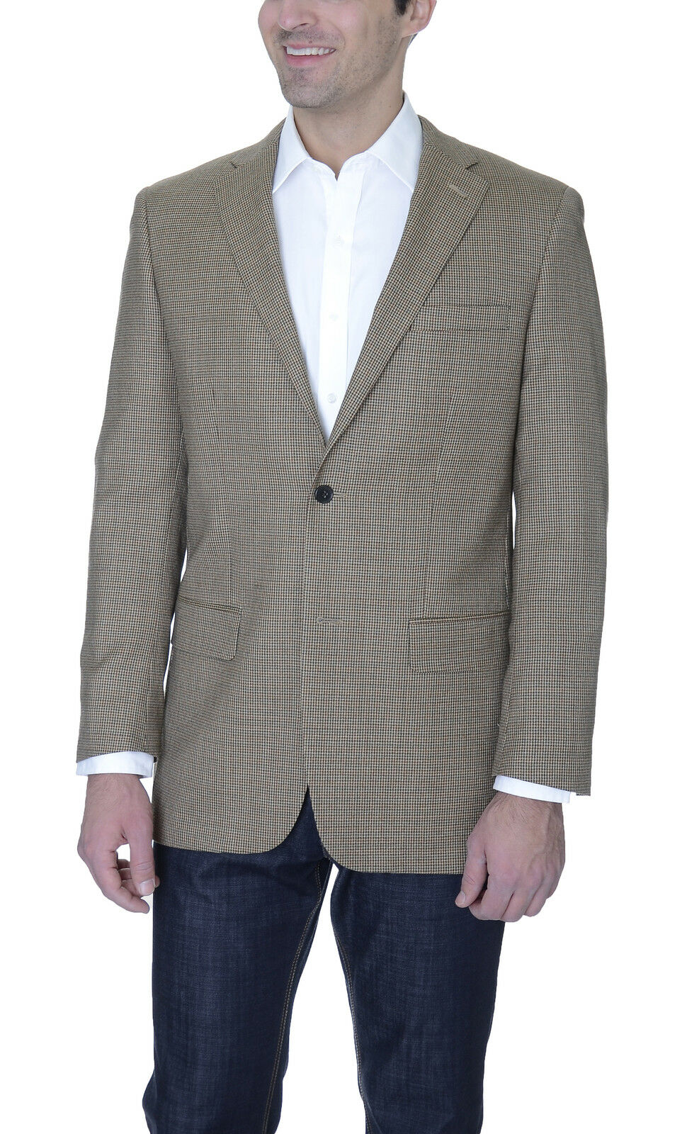 Tasso Elba Classic Fit Tan Houndstooth Two Button Wool Blazer Sportcoat