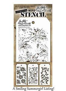 3 Mini Layering Stencils Poinsettia, Holly bough & Festive Tim Holtz Set #19