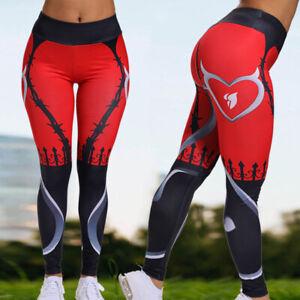 Womens-High-Waisted-Yoga-Leggings-Fitness-Devil-Print-Pants-Sports-Trousers-X333