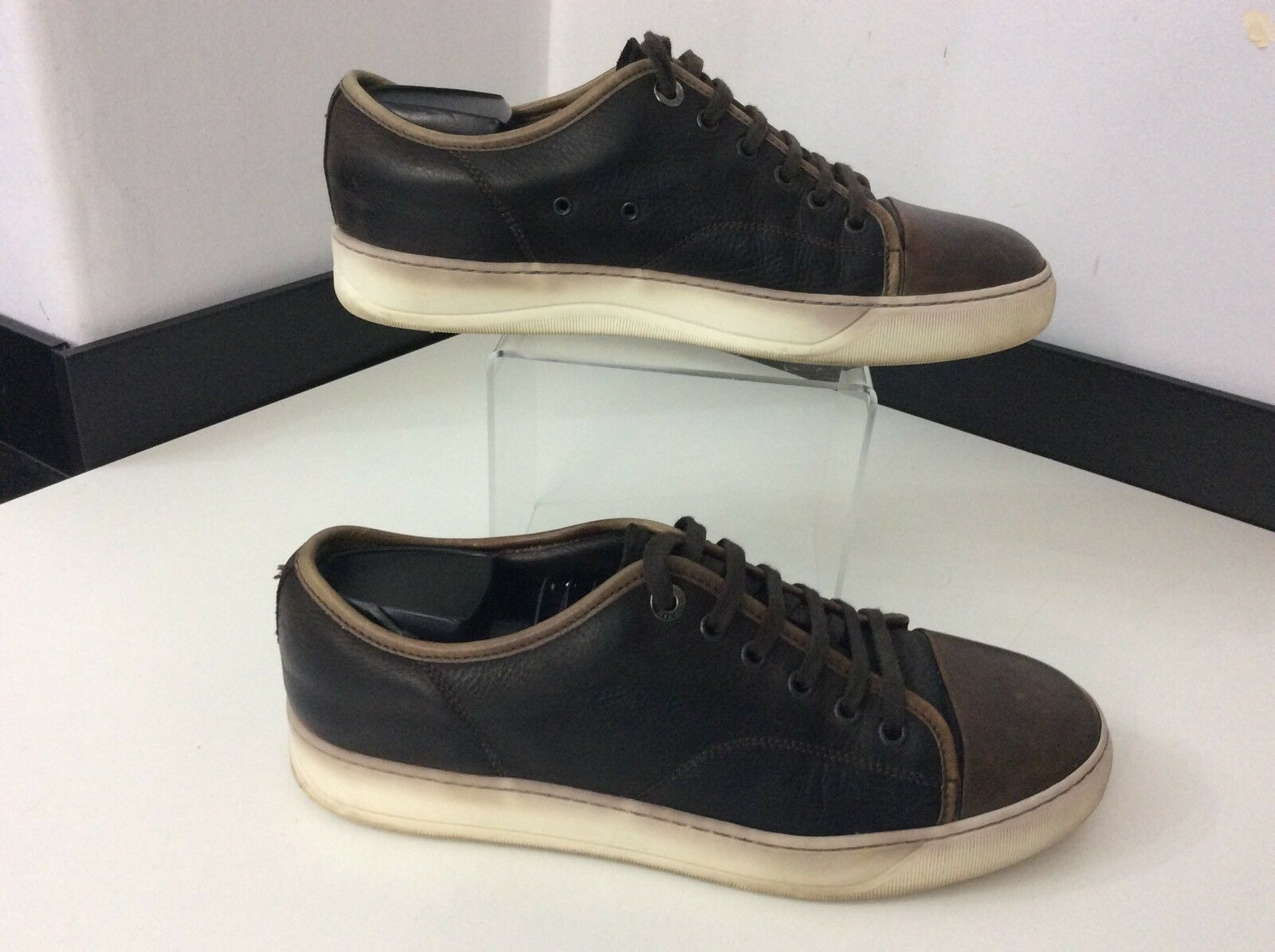 Lanvin Men's Leather Sneakers, Uk 7 Eu41, Brown Leather, shoes, Trainers GC
