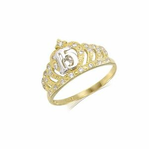 Womens 10K Yellow Gold Round CZ Solid 15 Quinceanera Anos Ring Size 4-10