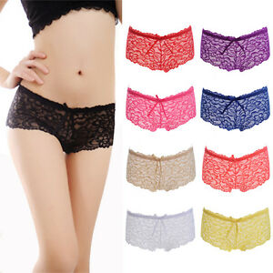 eb03c26d94 NEW Ladies Lace French Knickers Pack 3 6 9 Womens Boxer Briefs ...