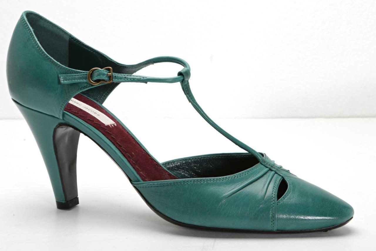 MARC JACOBS Womens Teal-bluee Green Leather T-Strap High-Heel Pumps 8.5-38.5 NEW
