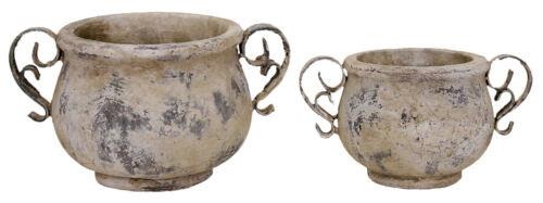 CASSETTA per fiori vaso vaso ceramica metallo lavoro manuale SHABBY VINTAGE