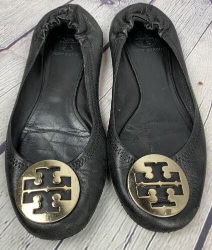 Tory Burch Minnie Ballet Flats Shoes 8.5 Black Gol
