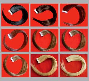 10-Echthaar-Tape-glatt-50-cm-zum-Kleben-Extensions-Remy-25-Gramm