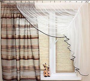 wunderschoene gardine weiss braun beige 350 160 wohnzimmer - Wohnzimmer Mit Kche Braun Beige