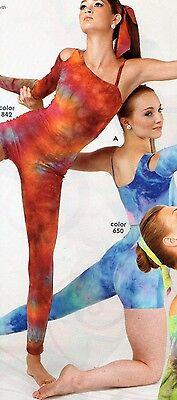 NWOT One legged Unitard Lyrical  Tiedye Shelf Lined Dance Ladies Size petite