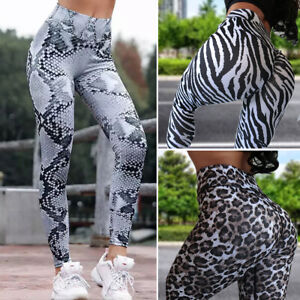 Women-High-Waist-Yoga-Fitness-Snake-Print-Pants-Gym-Sports-Leggings-Trousers-AM