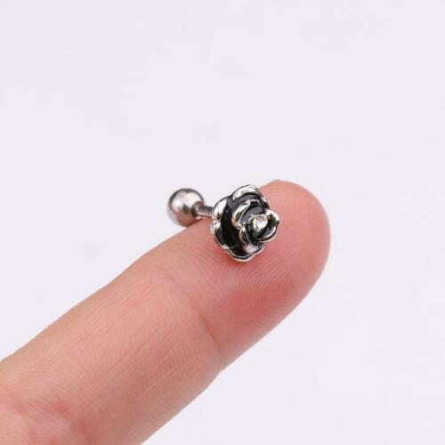 16G Silver Rose Tragus Lip Ring Monroe Ear Cartilage Stud Earring Punk Piercing