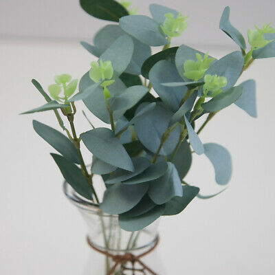 Artificial Frosted Glitter Eucalyptus Leaves Bunch x 6 stems Christmas Foliage