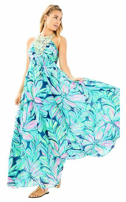 New Lilly Pulitzer LANNETTE MAXI DRESS High Tide Na Dancing Lady gold 2