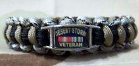 U.s. Military Desert Storm Veteran Custom 550lb Paracord Bracelet W/ Buckle