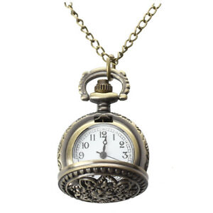 Montre-Gousset-Pocket-Watch-Quartz-Alliage-Bronze-Pendentif-Chaine-Fleur-A3J6