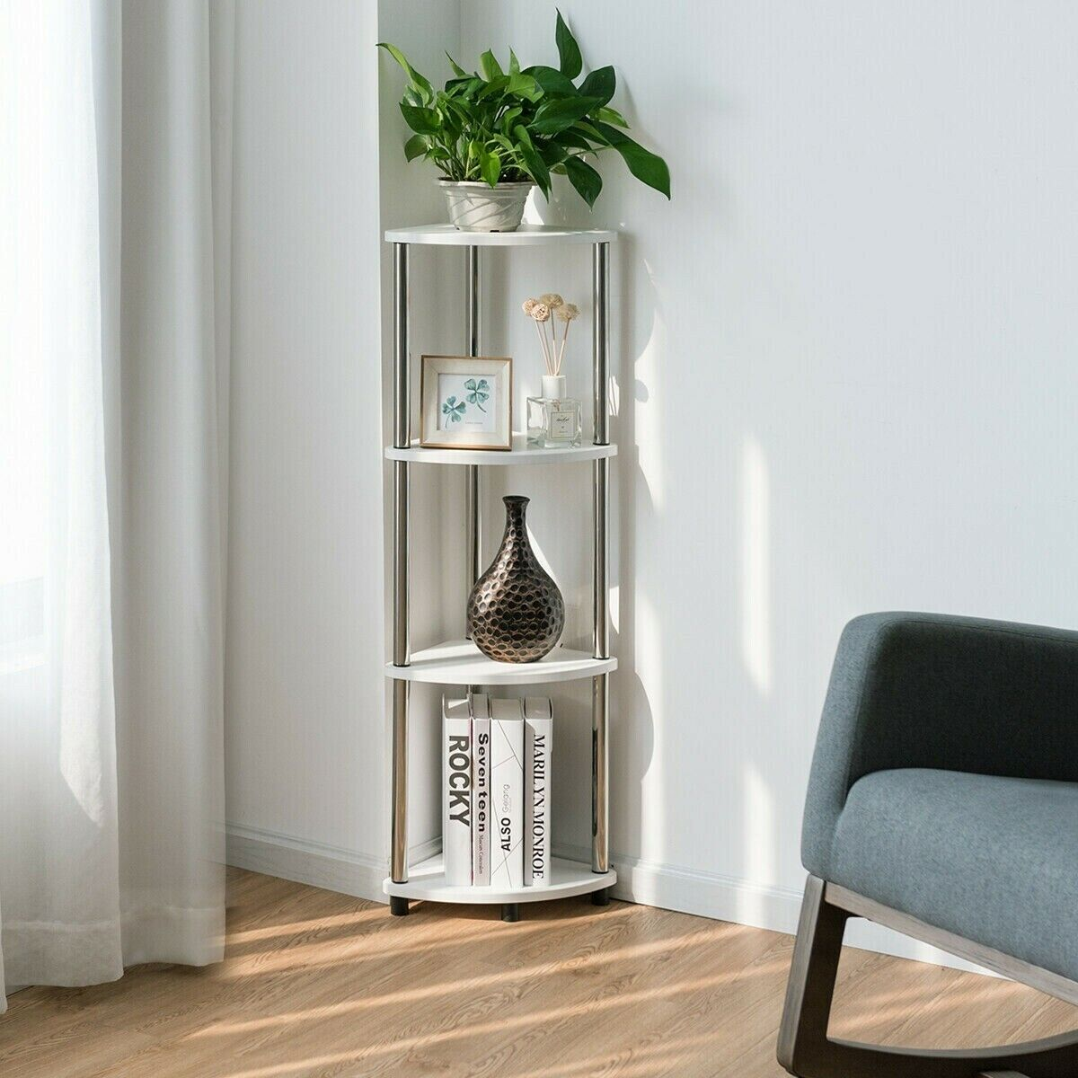4 Tiers Light Duty Living Room Display Stand Corner Shelf Modern Furniture White