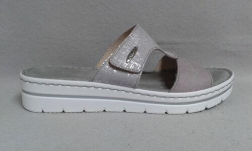 Fly Flot Pantolette lila grau weiß echt Leder Klettverschluß Fußbett 0076