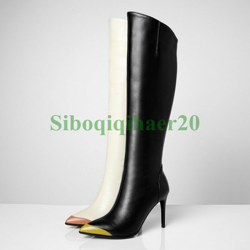 Genuine Real Pelle Pelle Real Donna Pointy Toe Zipper Stiletto Heel Knee High Stivali SIBO 3b3b69