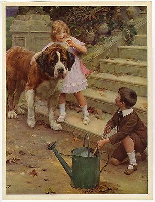 Vintage Elsley 1921 Victorian Art Print You Dare! St. Bernard & Children at Play