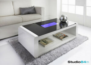 Details About Modern Stylish Led Infinity High Gloss Luxury Home Coffee Table With Led Lights