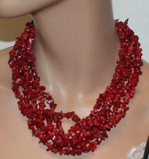Ukrainian, Red Stone Multi-Strand Necklace & Fish Hook Earring Set, Jewelry Set
