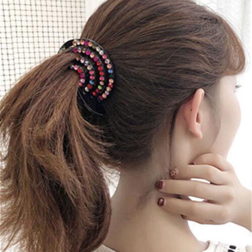 Women Crystal Bird Nest Hair Claw Bun Maker Hairgrip Hairpins Ponytail Holder
